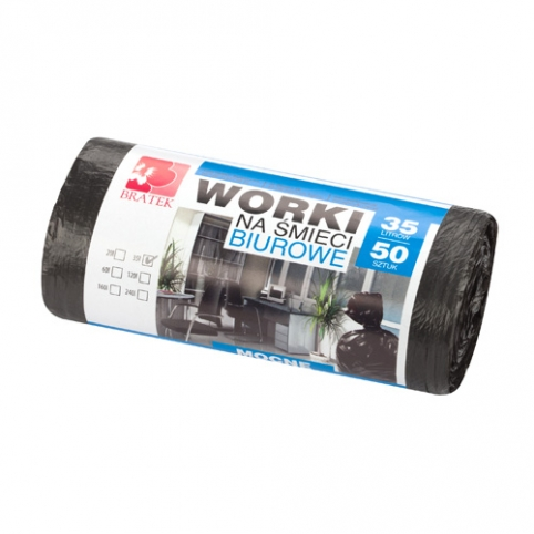 Worki na śmieci biurowe 35L 50 szt HDPE