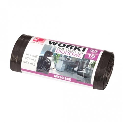 Worki na śmieci biurowe 35L 15 szt LDPE