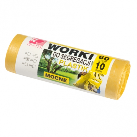 Worki do segregacji 60l 10 sztuk żółte - PLASTIK