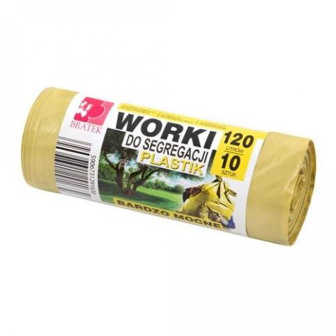 Worki do segregacji 120l 10 szt żółte -  PLASTIK