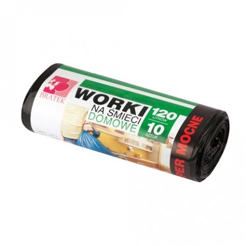 Worki na śmieci domowe 120L 10 szt LDPE
