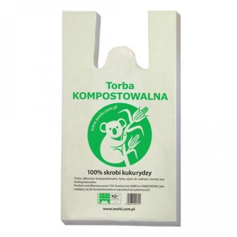 Torby Kompostowalne, reklamówki BIO 30cm x 55cm 100 sztuk