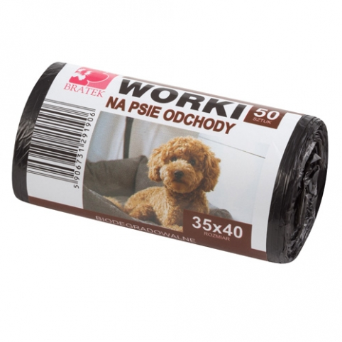 Worki na psie odchody 50 sztuk, biodegradowalne