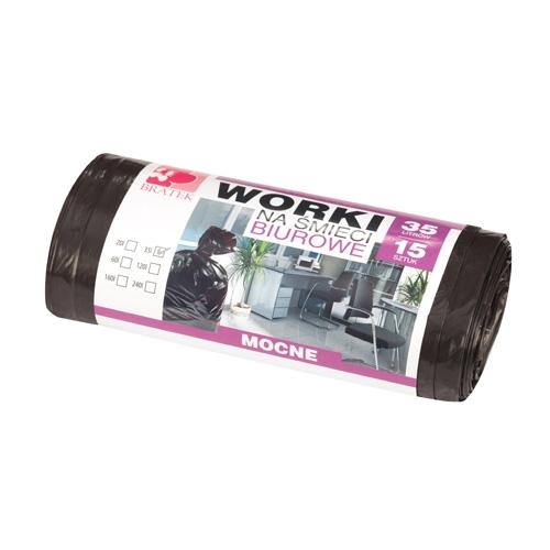 Worki na śmieci biurowe <span>35L 15 szt LDPE</span>
