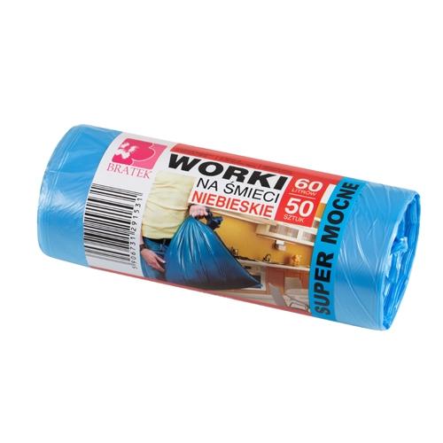 Worki na śmieci niebieskie  60L 50 szt HDPE